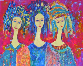 Multicolor Painting Blue Painting Purple Painting Pink Canvas Colorful Wall Art People Painting Female Painting Figurative Art Print Women