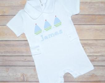 Boy beach romper, boys beach outfit, baby boy romper, baby boy monogrammed outfit, sailboat outfit, coming home outfit, boys summer clothes