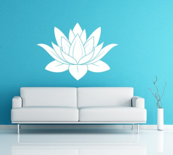 Lotus Flower Vinyl Decal Wall Art Spiritual Decal Namaste Wall Mural Graphics for Home, Kids, Children, Dorms, Baby Nursery