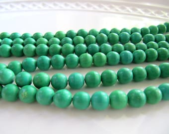7mm Chalk Turquoise Beads in Kelly Green, 1 Strand 15 Inches, 60 Pieces, Dyed, Round, Smooth