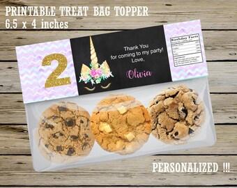 UNICORN PERSONALIZED Ziploc Treat Bag TOPPER, Unicorn Party Favors, Girl Unicorn Birthday, Girl Unicorn Candy Bag Topper