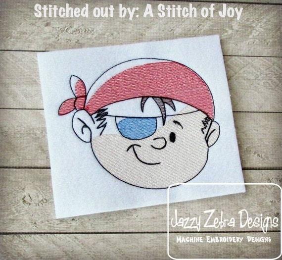 Pirate Boy Sketch Embroidery Design - pirate Sketch Embroidery Design - boy Sketch Embroidery Design - mascot Sketch Embroidery Design