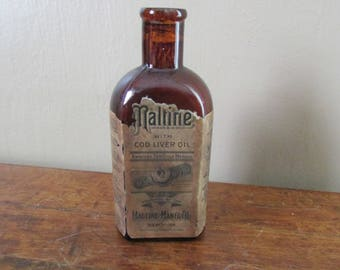 Old Medicine Bottle - Antique Medicine Bottle - Vintage Maltine Bottle - Brown Apothecary Bottle