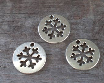 6 Silver Snowflake Cutout Charms 24mm Nickel Free