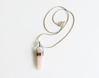 Rose Quartz Point Necklace / Vintage Stone Rod Necklace / Sterling Silver Chain