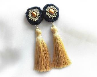 Tassel earrings, Gold and navy flower earrings, Tassels and flowers earrings, Statement earrings