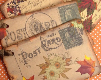 Vintage Style Leaf Postcard Gift Tags/Large Gift Tags/Postcard Tags/Vintage Script Tags/Rustic Leaf Gift Tags/Autumn Book Marks/Set of 4