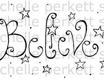 Digital Stamp Calligraphy Believe Stars Christmas Magic Cardmaking Scrapbooking Stamping