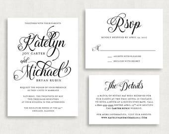Wedding Invitation and RSVP Card (Calligraphy) -Digital File, PDF, DIY, Printable, Script, Black and White, Modern, Classic, Printed, jpeg