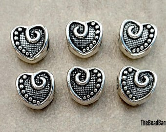Heart Charm, Silver Charms, European Spacer beads, 6pcs, Fits Pandora style bracelets, Snake chains, Large Hole Charm Beads, Jewelry Making