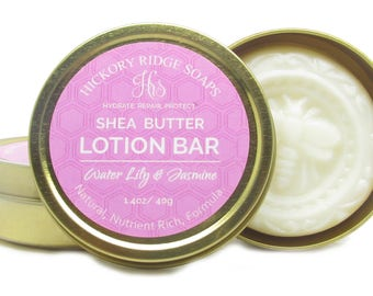 Water Lily and Jasmine Shea Butter Lotion Bar   Skin Cream   Solid Lotion Bar   Beeswax   Solid Body Lotion   Body Butter   Travel Toiletry