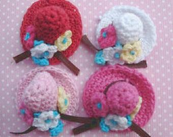 SET of 4 crocheted APPLIQUES: Hat 4 colors 30mm