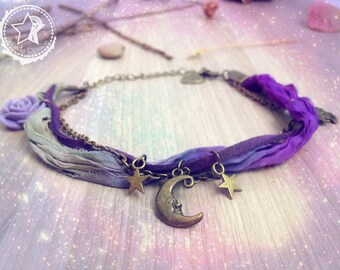 Moon Stars ankle bracelet. Purple anklet. Moon jewelry purple Sari silk, bohemian anklet, boho owl anklet, star anklet, boho jewelry, star