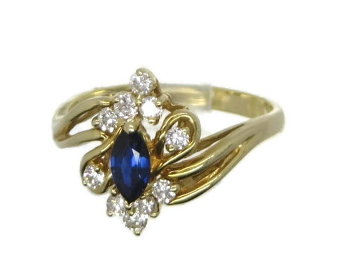 Vintage Sapphire Ring, Sapphire Diamond Ring, 14k Blue Gold Ring, Solid 14k Gold Jewelry ,Sapphire Ring, Anniversary Gift, Solid Gold Ring