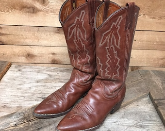 Women's Vintage Dan Post Marlboro Saddle Brown Leather Cowboy Boots Size 8