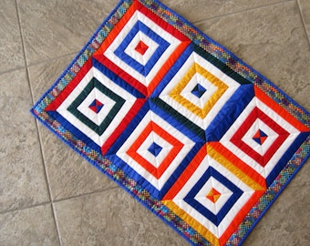 Quilt  Wall Hanging Table Topper Runner  Primary Colors Geometric Contemporary Colorful
