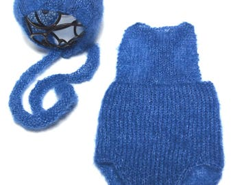 Newborn mohair romper and bonnet set - overall style romper - boy bonnet - mohair boy romper - photo prop - READY TO SHIP