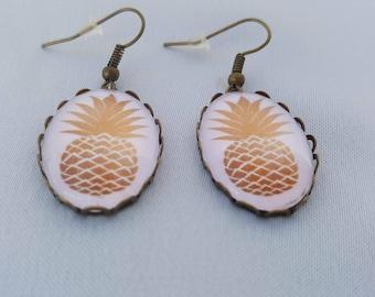 Bronze - gold pineapple earrings