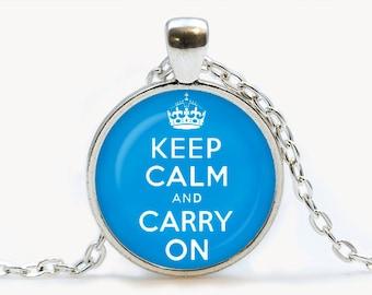Keep calm and carry on Blue Pendant. Keep calm and carry on Necklace. Keep calm and carry on jewelry, голубой. Birthday gift