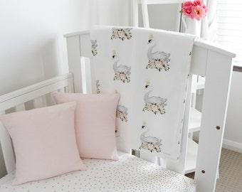 Minky Baby Blanket. Swan Baby Blanket. Swan Blanket. Floral Baby Blanket. Baby Girl Blanket. Pink Baby Blanket. Nursery Decor. Pram Blanket