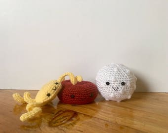 Crochet Blood Cell Plush Trio | Crochet Red Blood Cell, White Blood Cell & Platelet Anatomy Plushie Set