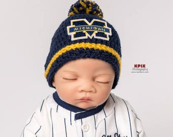 University of Michigan baby boy, girl, hat, newborn, preemie