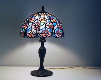 Tiffany Style Lamp, Stained Glass Lamp Shade, Vintage Peacock Lamp, Blue Pink Mosaic Shade, Ornate Metal Base, Art Nouveau Boudoir Lamp