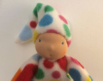 Waldorf inspired spotty baby bunting doll