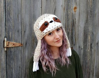 sloth hat, sloth beanie, funny animal hat, vegan, sloth gift, winter hat, gift for her, beanie hat, hat with earflaps, animal hat