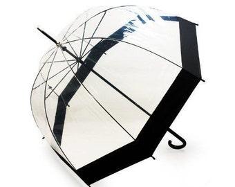 Free Ship Bubble Umbrella Birdcage Clear Umbrella with Black border