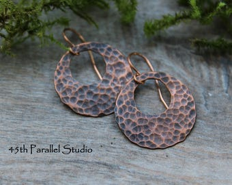 Hammered Copper Earrings, Copper Earrings, Disc Earrings, Copper Jewelry, Hammered Copper, Rustic Earrings, Hammered Copper Jewelry, Copper