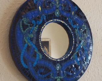 Handmade Norse-design mosaic mirror
