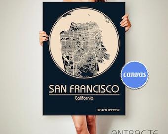 SAN FRANCISCO California CANVAS Map San Francisco Poster City Map San Francisco California Art Print San Francisco California