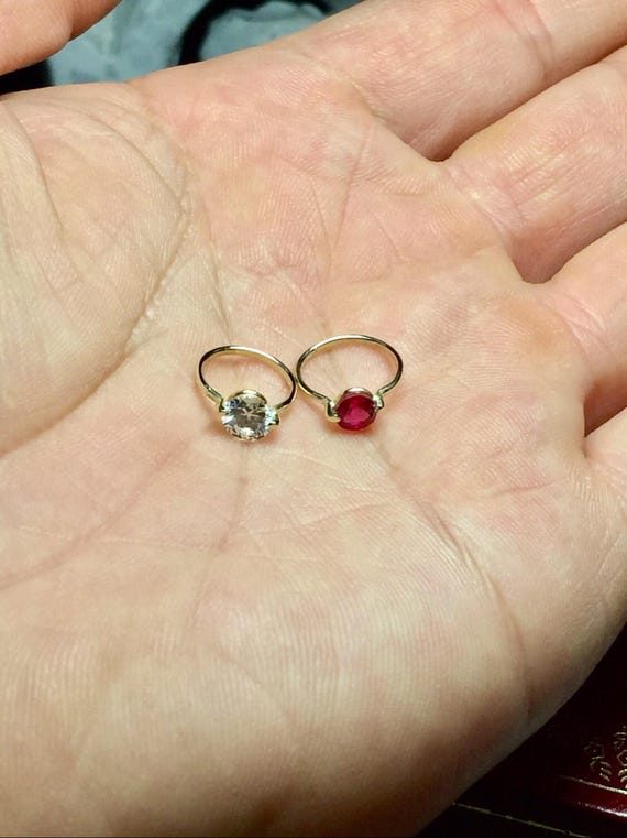 14k 10k Solid Gold Baby Ring Birthstone Ring Charms 14k
