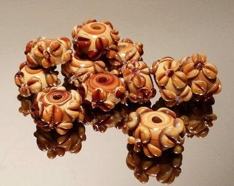 Flower beads, handmade beads, flower pendant, glass beads