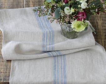 Farmhouse Grain sack style French blue stripe linen burlap table runner rustic rough Christmas centrepiece