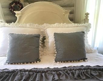 Two 18/18 inch pillow slips/ black/ white check.