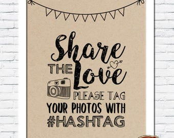 Rustic Vintage Shabby Chic Wedding A4 Print - Share the Love Hashtag Photos Sign