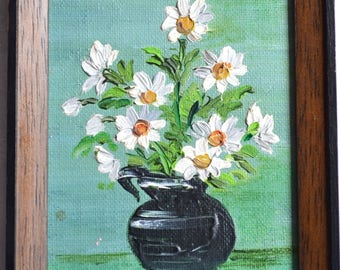 Vintage Miniature Oil on Canvas Painting - JJ White Daisies in Vase