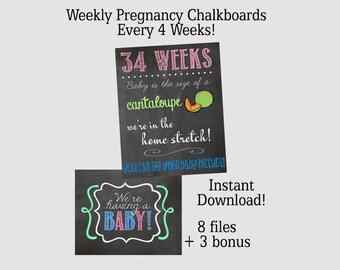 Weekly Pregnancy Chalkboard Set of 8 weeks Plus 3 BONUS  - 8x10 OR 16x20 - Instant Download SALE!!