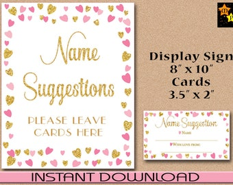 Name Suggestions Display Sign and Cards, Baby Shower, Pink Gold Hearts, Instant Download, DIY, Printable PDF