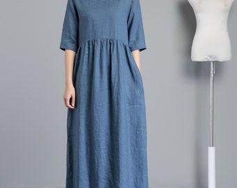 Blue linen dress, linen dress, long linen dress, linen dress for women, loose linen dress, linen summer dress, linen sleeve dress C1256