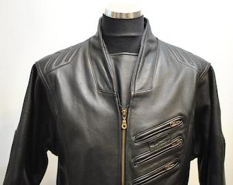 Vintage MOTORCYCLE LEATHER JACKET , men's biker jacket ..............(681)