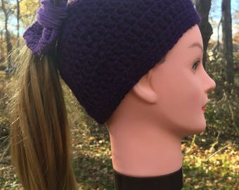 Light on Dark Purple Women's Messy Bun Hat