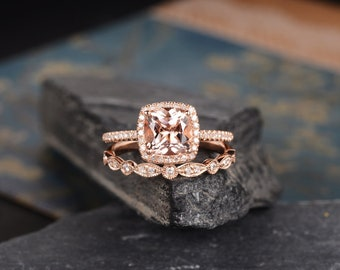 Rose Gold Engagement Ring Morganite Ring Bridal Set Halo Diamond Cushion Cut Wedding Ring Anniversary Gift For Her Women Half Eternity