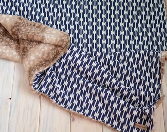 Tomahawk Blanket//Fawn Blanket//Blue Toddler Blanket//Faux Fur Blanket//Stroller Blanket//Toddler Blanket//Cuddle Blanket