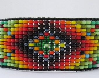Huichol Native American Inspired Emerald Green Rainbow  Beaded Bracelet or Anklet  - Original Design 21