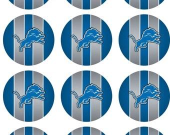 Detroit Football Edible Image Cupcake Toppers