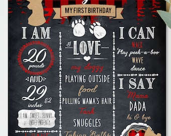 Lumberjack First Birthday, Chalkboard Sign, Lumberjack Baby boy Birthday Poster, Personalized Lumberjack First Birthday, Buffalo Plaid