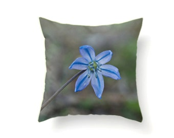 Photo Pillow Case, Blue Flower Throw Cushion Cover, Serenity Decorative Living Room Accent, Shabby Elegance Decor, Blue Botanical Art Decor